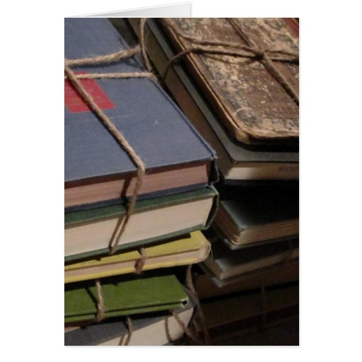 Old book stack greeting cards