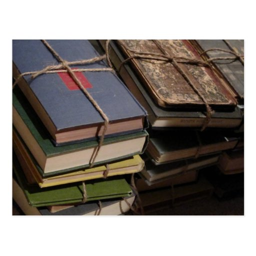 Old book stack post card