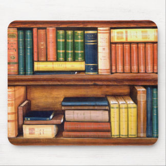 Old Books Antique Library Bookshelf Mousepad