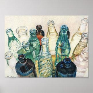 """Old Bottles"" Colored Pencil Art Print"