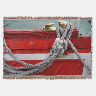 Old Bow Ropes On Brass Cleat On Canal Boat