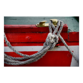 Old Bow Ropes On Brass Cleat On Canal Boat Poster