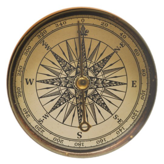 Old Brass Compass Steampunk Victorian-style Plate