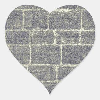 Old Brick Stone Design Nonsymmetric Stone Wall Heart Sticker
