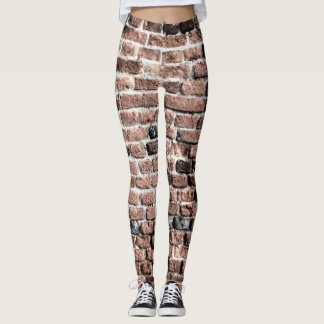 Old brick wall grunge background leggings