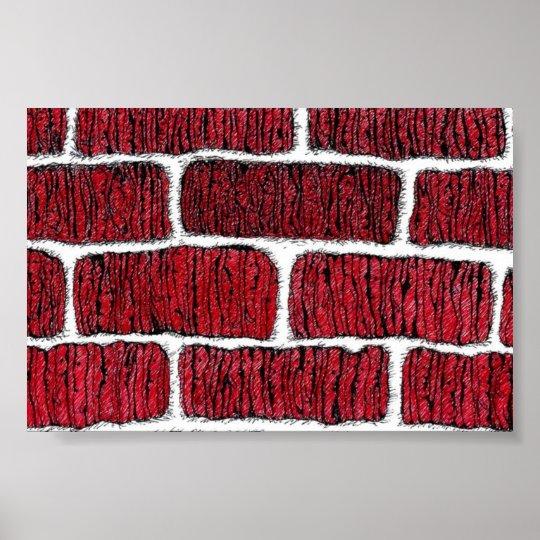 old brick wall poster