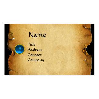 OLD BROWN PARCHMENT, GEM STONE, MONOGRAM blue Business Card Templates