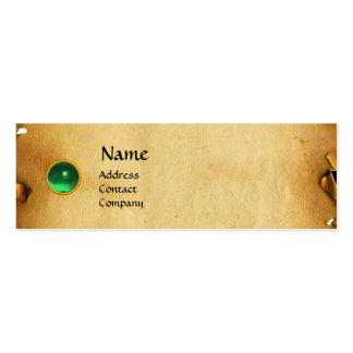OLD BROWN PARCHMENT, GEM STONE, MONOGRAM green Business Card