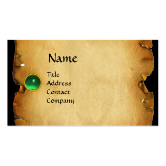 OLD BROWN PARCHMENT, GEM STONE, MONOGRAM green Business Cards