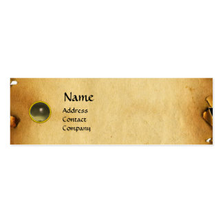 OLD BROWN PARCHMENT, GEM STONE, MONOGRAM grey Business Cards