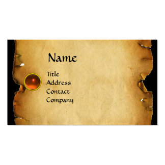 OLD BROWN PARCHMENT, GEM STONE, MONOGRAM orange Business Card Templates