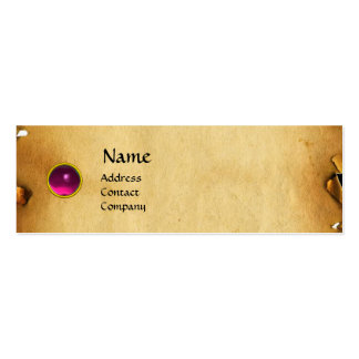 OLD BROWN PARCHMENT, GEM STONE, MONOGRAM pink Business Card Templates