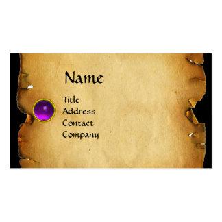 OLD BROWN PARCHMENT, GEM STONE, MONOGRAM purple Business Card