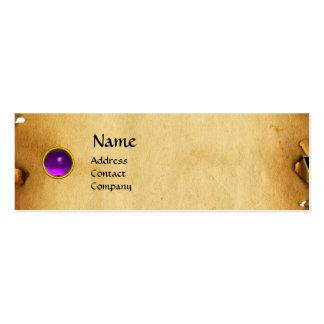 OLD BROWN PARCHMENT, GEM STONE, MONOGRAM purple Business Card Templates