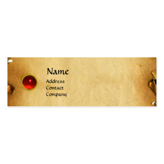 OLD BROWN PARCHMENT, GEM STONE, MONOGRAM red Business Card Template