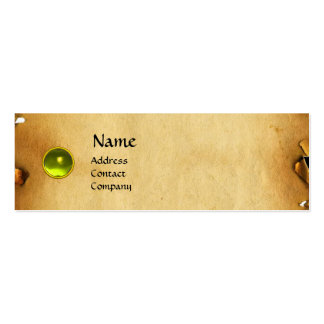 OLD BROWN PARCHMENT, GEM STONE, MONOGRAM yellow Business Card Template