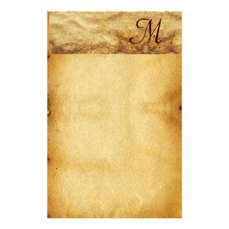 OLD BROWN PARCHMENT Monogram Customized Stationery