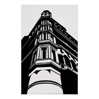 Old building poster
