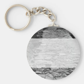 Old building. Tall Stone Wall. Key Ring