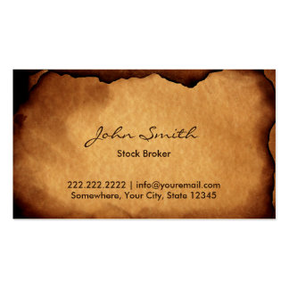 Old Burned Paper Stock Broker Double-Sided Standard Business Cards (Pack Of 100)