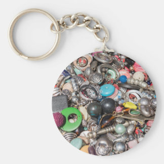old buttons collection key ring