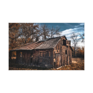 Old cabin in autumn canvas prints