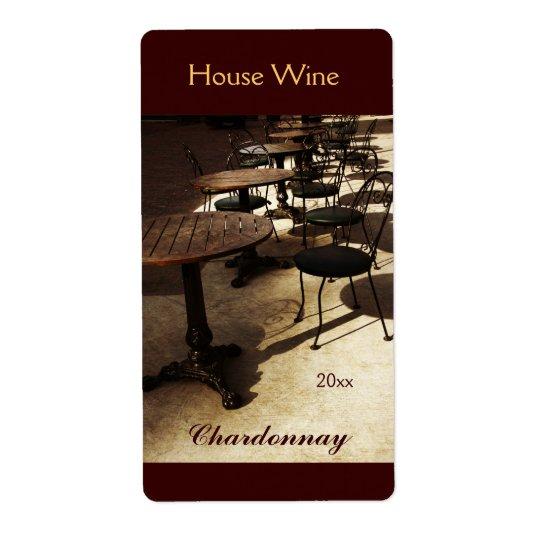 Old cafe house wine bottle label