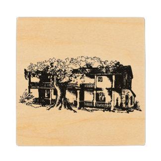 Old California Hacienda Wood Coaster