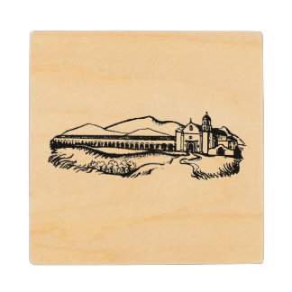 Old California Mission image on wood coaster