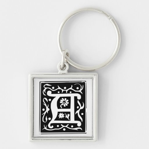 Old Calligraphy Letter A Monogram Keychain