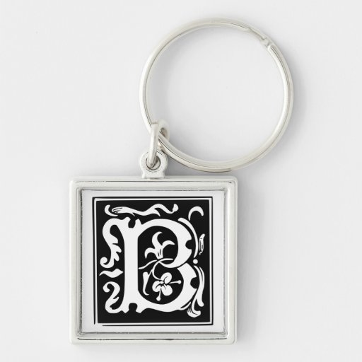 Old Calligraphy Letter B Monogram Keychain