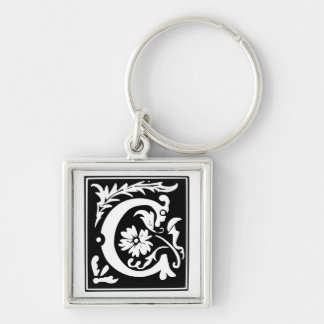 Old Calligraphy Letter C Monogram Keychain
