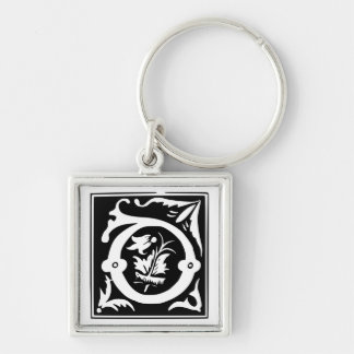 Old Calligraphy Letter D Monogram Keychain