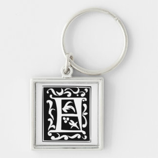 Old Calligraphy Letter F Monogram Keychain