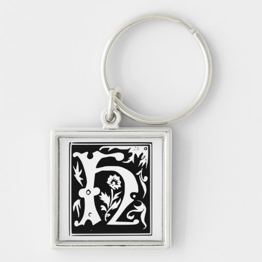 Old Calligraphy Letter H Monogram Keychain
