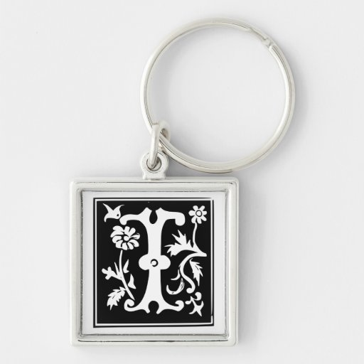 Old Calligraphy Letter I Monogram Keychain