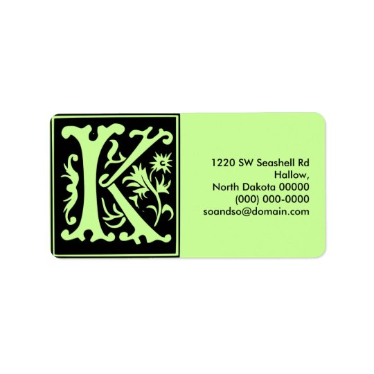Old Calligraphy Letter K Address Label Landscape