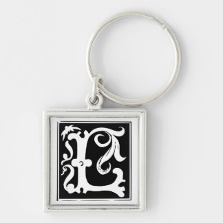 Old Calligraphy Letter L Monogram Keychain