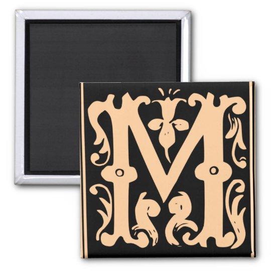 Old Calligraphy Letter M Square Fridge Magnet