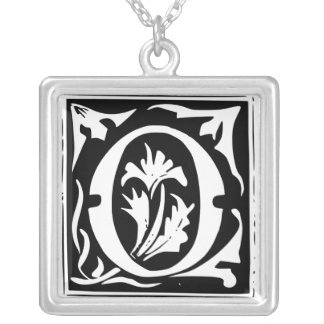 Old Calligraphy Letter O Monogram Silver Necklace