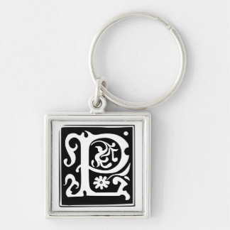 Old Calligraphy Letter P Monogram Keychain