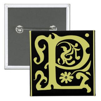 Old Calligraphy Letter P Square Button Pin