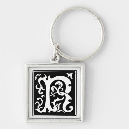 Old Calligraphy Letter R Monogram Keychain