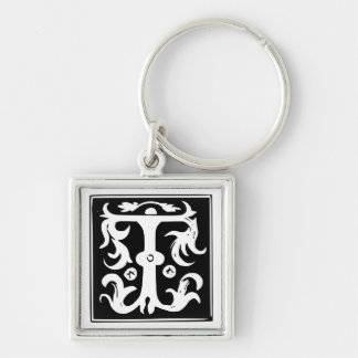 Old Calligraphy Letter T Monogram Keychain
