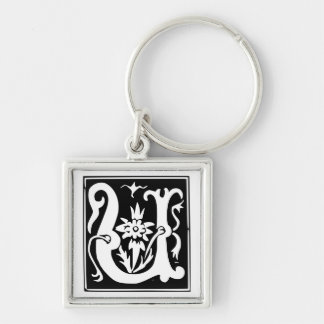 Old Calligraphy Letter U Monogram Keychain