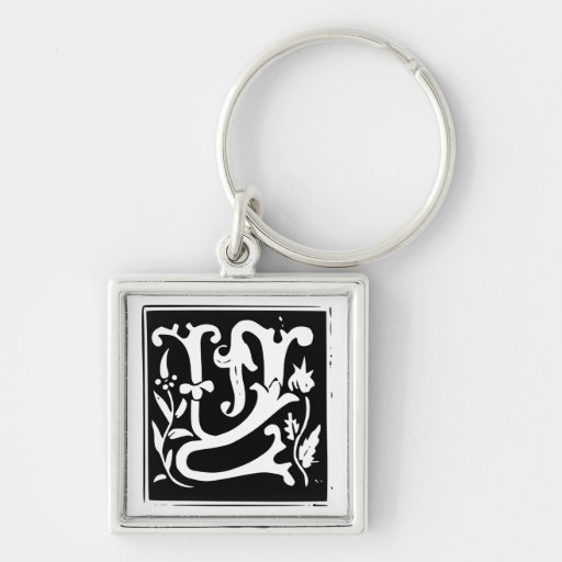 Old Calligraphy Letter Y Monogram Keychain