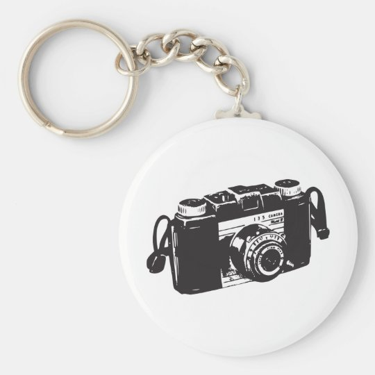 Old camera basic round button key ring