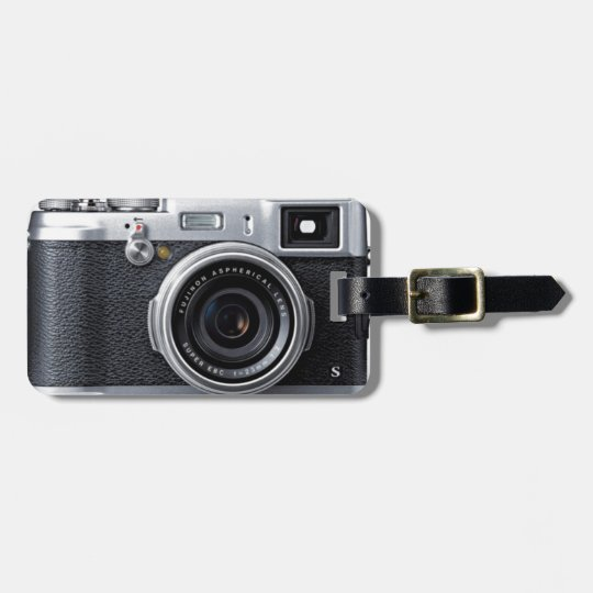 old camera luggage tag