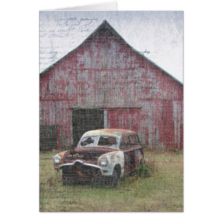 Old Car and Old Barn, Birthday Card