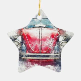 Old Car Art Abstract Watercolor Vintage Christmas Ornament